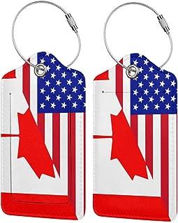 Half USA Half Canada Flag Luggage Tag & Bag Tags Golf Bags Luggage Bag Travel Suitcases Bag Tags