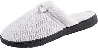 Isotoner Women's Chevron Slip on Clog Slippers with Moisture Wicking for Indoor/Outdoor Comfort and Arch Support