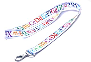 Kids Alphabet Lanyard Keychain with Metal Clasp - ID Lanyard for Keys, USB, Badges, Whistle, Hall Pass - ABC ID Holder Keychain for School, Students, Kids, Boys, Girls, Gifts (White, 1 Lanyard)
