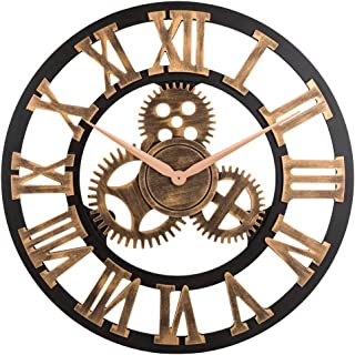 "23"" inch Noiseless Silent Non-Ticking Wall Clock – Large 3D Retro Rustic.."