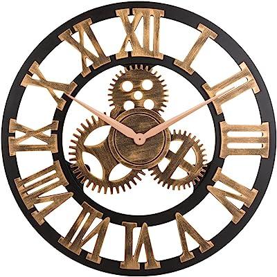 OLDTOWN Clock 3D Retro Rustic Vintage Wooden 23-Inch Noiseless Gear Wall Clock Roman-Anti-Bronze