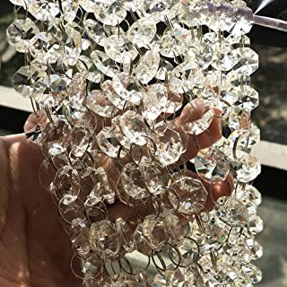 19.6 ft Crystal Beads Chandelier Chain Clear Crystal Glass Beads Sewing Beaded Trim Craft Bead Lamp Chain for The Wedding Home Garland DIY Jewelry Making,and Other DIY Craft Projects Decorations