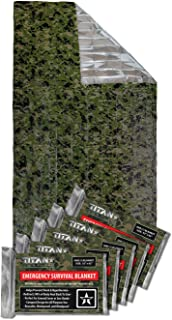 TITAN Two-Sided Mylar Emergency Survival Space Blankets, 5-Pack | Designed for NASA's Appolo Program and Heat Retention | ...