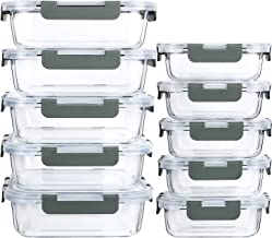 [10-Pack]Glass Meal Prep Containers with Lids-MCIRCO Glass Food Storage Containers with Lifetime Lasting Snap Locking Lids...