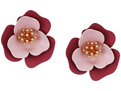 Vince Camuto Post Flower Clip Studs Earrings (Gold/Crystal/Soft Pink/Metallic Mauve) Earring