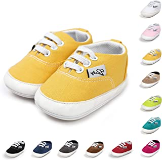 Sponsored Ad - BENHERO Baby Boys Girls Canvas Toddler Sneaker Anti-Slip First Walkers Candy Shoes 0-24 Months 12 Colors