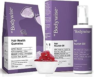Bodywise Healthy Hair Kit   Biotin Hair Gummies Pack of 30   Nourish Hair Scalp Oil 100ml  Reduce Hair fall   Prevents Dan...