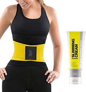 Slim Abs Waist Trainer Corset Belt with Slimming Sweat Cream – Womens Workout Body Shaper Wrap with Thermogenic Firming and Tightening Gel for a Trimmer Stomach