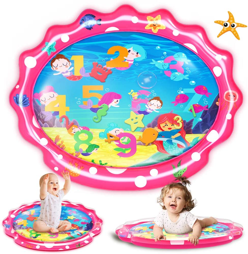 SEETOYS Tummy Time Baby Mermaid Water Mat, Infant Toy Largest 30