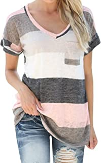 QY Women's V-Neck Striped Casual Short Sleeve T-Shirt Blouse Tees Tops Grey 5XL