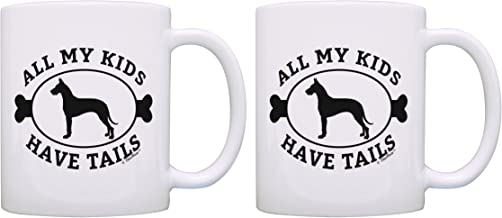 Great Dane Mom All My Kids Have Tails Great Dane Rescue Gift Great Dane Puppy 2 Pack Gift Coffee Mugs Tea Cups White