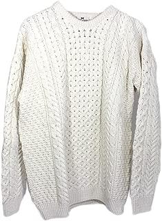 100% Irish Merino Wool Traditional Crew Neck Aran Sweater by Carraig Donn