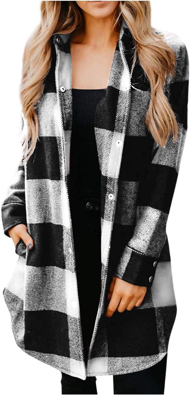 SALIFUN Women's Long Sleeve Open Front Cardigan Casual Print Plaid Sweater Coat Outwear