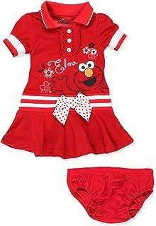 Sesame Street Elmo Baby Toddler Girls Knit Polo Dress with Collar