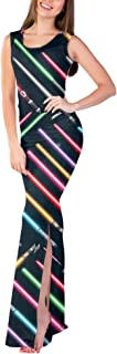 Rainbow Rules Lightsabers Star Wars Inspired Fitted Split Maxi Dress