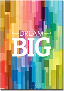 SEVEN WALL ARTS- Motivational and Inspirational Quote Dream Big Posters Giclee Print on Canvas Rainbow Color Artworks for Office or Kids Room Home Decor 16 x 24 Inch