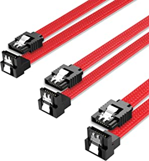 QIVYNSRY 3PACK SATA Cable III 3 Pack 90 Degree Straight to Right Angle 6Gbps HDD SDD SATA Data Cable with Locking Latch 50...