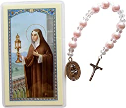 Gifts by Lulee, LLC Saint Clare of Assisi Majorca Pearls, Glass Beads and Silver Plated Findings Chaplet Blessed Prayer Card Included