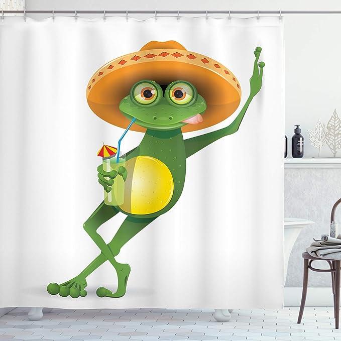 Frog Sit On Mom Lotus Fabric Bathroom Shower Curtain Set Waterproof w//Hooks Kids