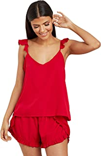 Ruffle Strap Cami and Plain Shorts Set For Women Red Closet by Styli