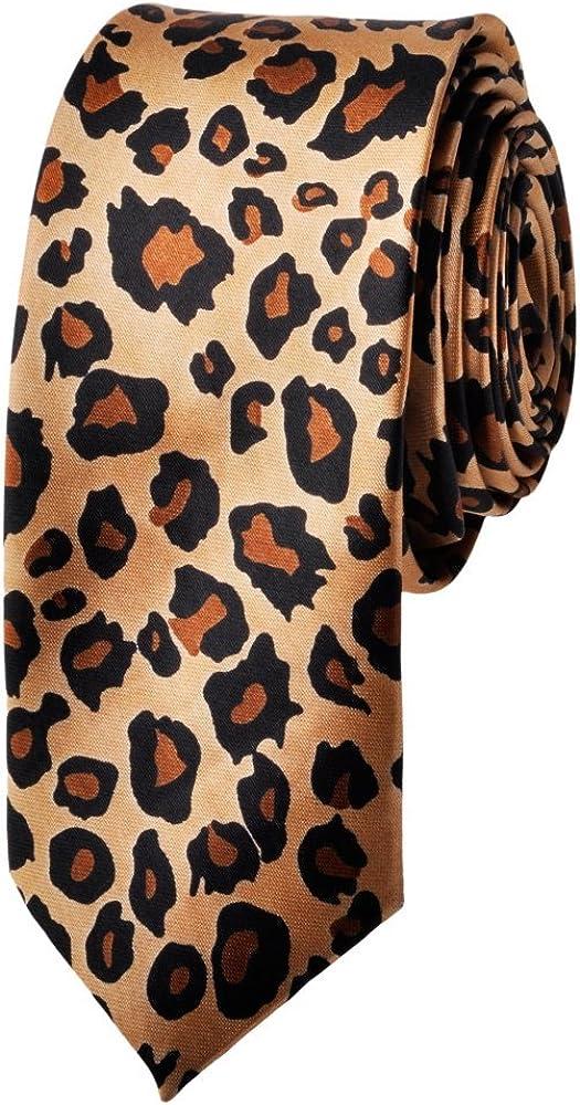TopTie Unisex Leopard Spotted Slim Tan & Black Skinny 2 Inch Necktie Tie