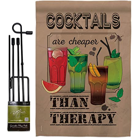 Breeze Decor Gs117035 Bo Cocktails Are Cheaper Happy Hour Drinks Wine Impressions Decorative Vertical 13 X 18 5 Double Sided Garden Flag Set Metal Pole Hardware Garden Outdoor