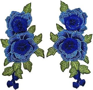 Cubyee Premium 3D Manual Embroidery Appliques, [2pcs] Rose Flower Decorative Patches for Jeans Pants Tops T-Shirt Dress Bags Shoes Hats etc.(Blue)
