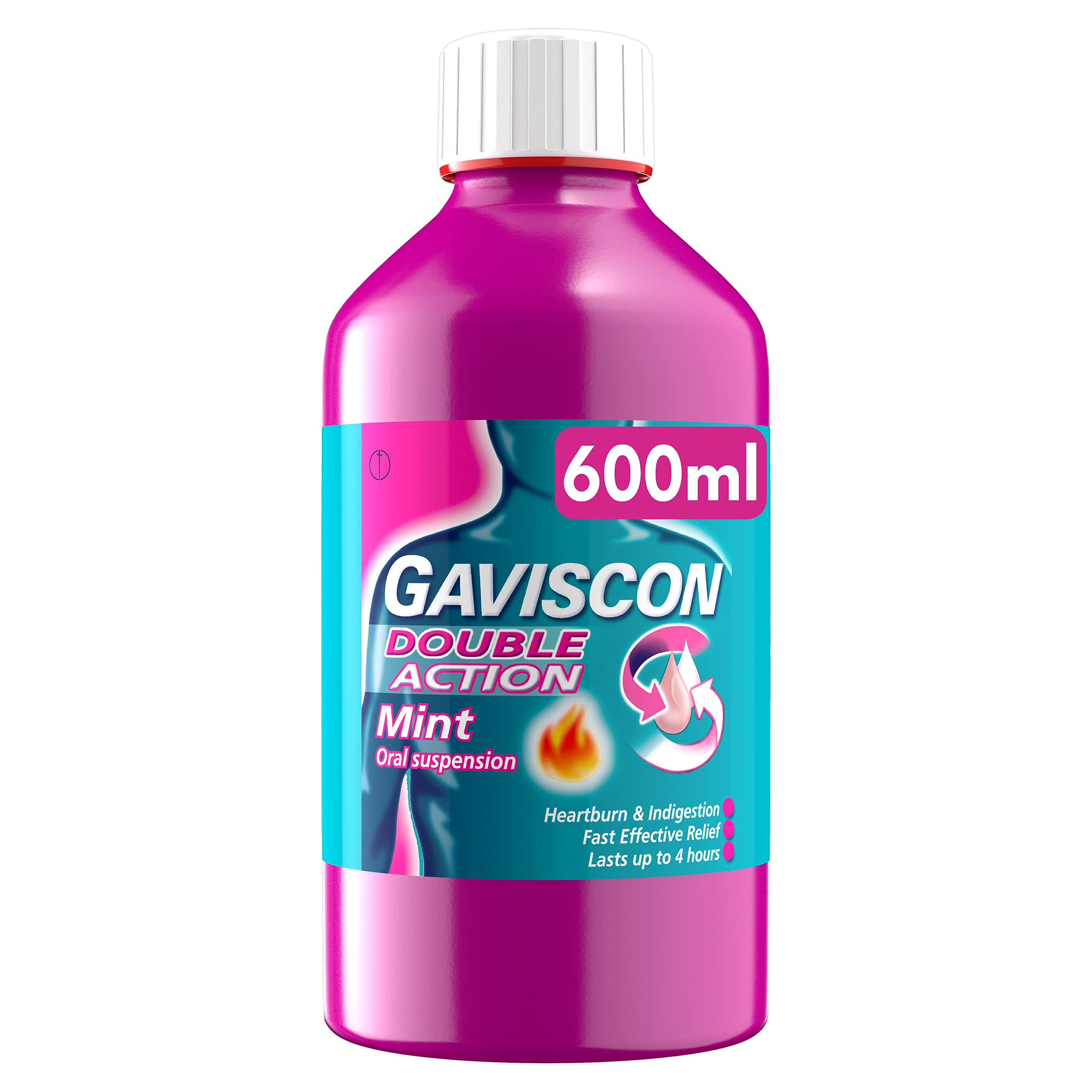 Gaviscon Heartburn Relief and Indigestion Liquid, Double Action, Mint Flavour, 600 ml