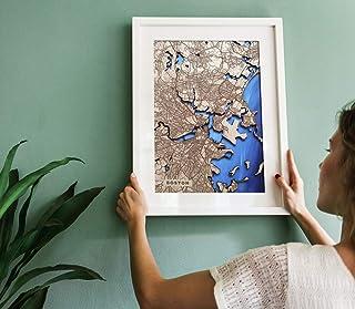 Mapa personalizado grabado en madera de cualquier costa y mar. Arte vintage. Decoración retro. Pintado a mano.