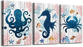 Black and white Sea Horse Octopus Crab 3 Piece Ocean Theme Canvas Wall Art for Living..