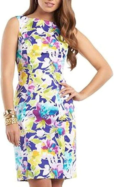 Chaps Genuine Womens Floral Watercolor Garden Dress Pink Blue Purple