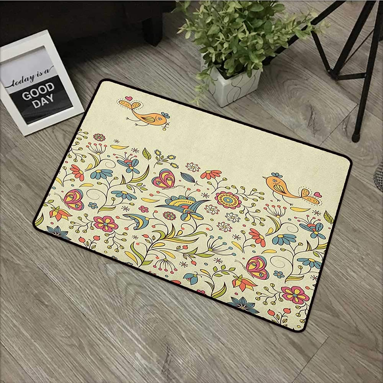Corridor Door mat W35 x L59 INCH Floral,Blooming colorful Petals of Summer with Butterflies and Flying Birds Flora and Fauna, Multicolor with Non-Slip Backing Door Mat Carpet