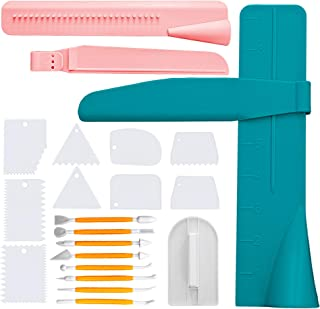 Cake Feast Decorating Kit 20 Pieces Set - Includes Cake Scraper Comb, Adjustable Icing Scraper Tools, Decorator Modelling and Fondant Smoother - Professional Baking and Pastry Supplies