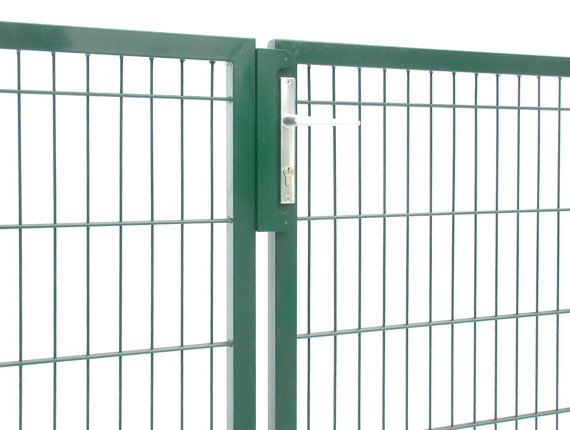 Puerta doble para jardín de color verde, 2 hojas, altura 160 cm, ancho 300 cm, compatible con valla de doble varilla, incluye postes y cerradura: Amazon.es: Bricolaje y herramientas