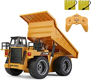 Luck-Broccoli RC Truck 6 Channel Remote Control Car Dump Truck Toy with Lights & Sounds, 2.4G Alloy Construction Vehicle T...