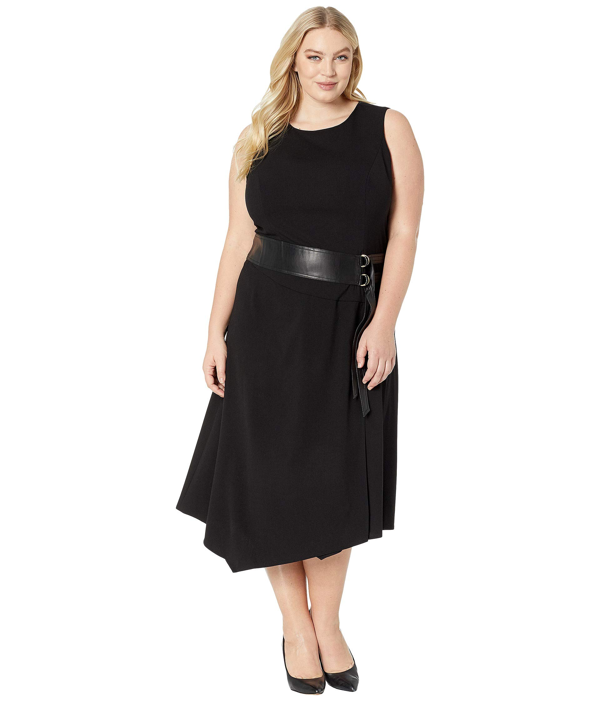 Klein Dress Leather With Plus Black Faux Calvin Size Belt Lux And fq77wZ