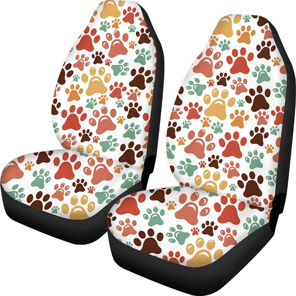 Buybai Cute Today's only Dog Paws Printed Car Ca Covers Fabric Fees free!! Seat Universal