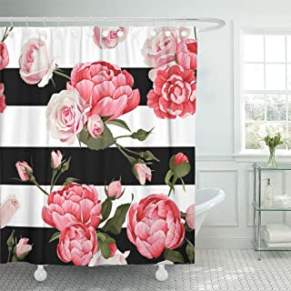 Emvency Shower Curtain Colorful Abstract Peony and Roses Black White Stripes Flowered Shower Curtains Sets with Hooks 72 x 78 Inches Waterproof Polyester Fabric