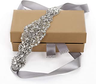 TENDAISY Women's Handmade Rhinestones Bridal Wedding Belt with Pearls for Dresses