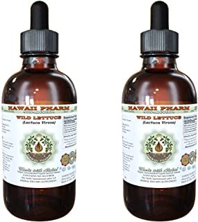 Wild Lettuce Alcohol-Free Liquid Extract, Organic Wild Lettuce (Lactuca Virosa) Dried Herb Glycerite Natural Herbal Supplement, Hawaii Pharm, USA 2x4 fl.oz