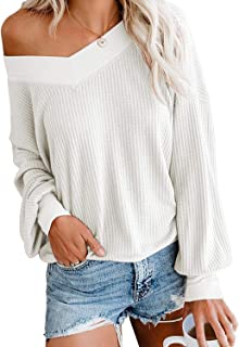 Balimtoy Womens V Neck Pullover Long Sleeve Off Shoulder Waffle Knit Sweater Top