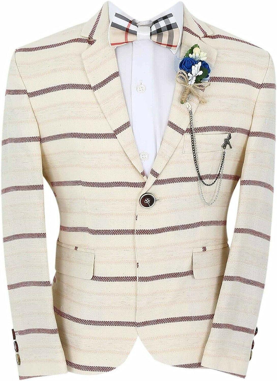 Boy's Horizontal Striped Slim Fit Fashion Blazer Casual Special Occasion Birthday Wedding Dinner Prom Party Suit Jacket