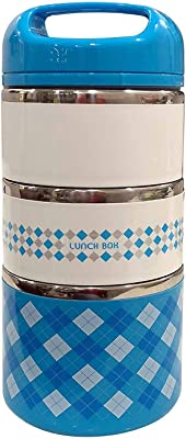 Patel Brand Stainless Steel 3 Layer Lunch Box Picnic Food Container Tiffin Hot Thermal Box Fast Breakfast Dinner Container Box