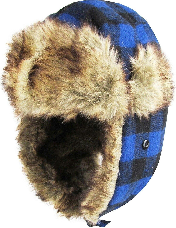 Aviator Trapper Hat Buffalo Plaid Winter Cap Ski Warm Fur Cap Aviator Trapper Winter Hat KBOS-RR