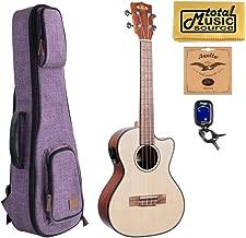 Kala KA-STGE-C Solid Spruce Top Gloss Tenor Electric Acoustic Ukulele w/Purple Sonoma Case Bundle