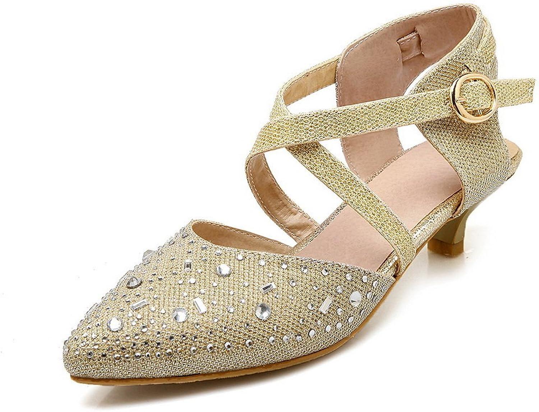 1TO9 Womens Buckle Mule Dance-Modern gold Polyurethane Pumps-shoes - 7 B(M) US