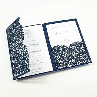 50 CARTE CONFEZIONE Apribile taglio laser inviti matrimonio fai da te partecipazioni matrimonio blu marino carta con busta
