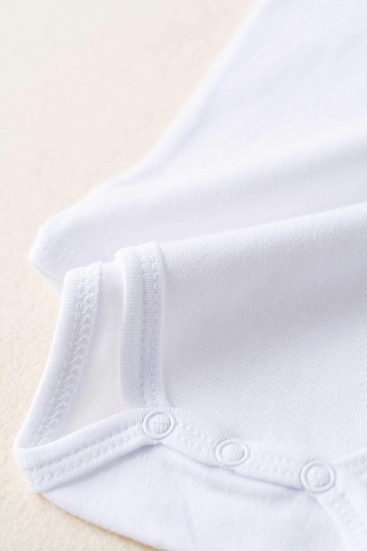 Amom/í Body Beb/é del Color Liso Blanco Manga Corta 100/% Algod/ón Pack de 6 PCS