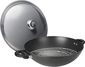 ASD Hard Anodised Induction Wok with Stainless Steel Cover with Steaming Rack, 40cm