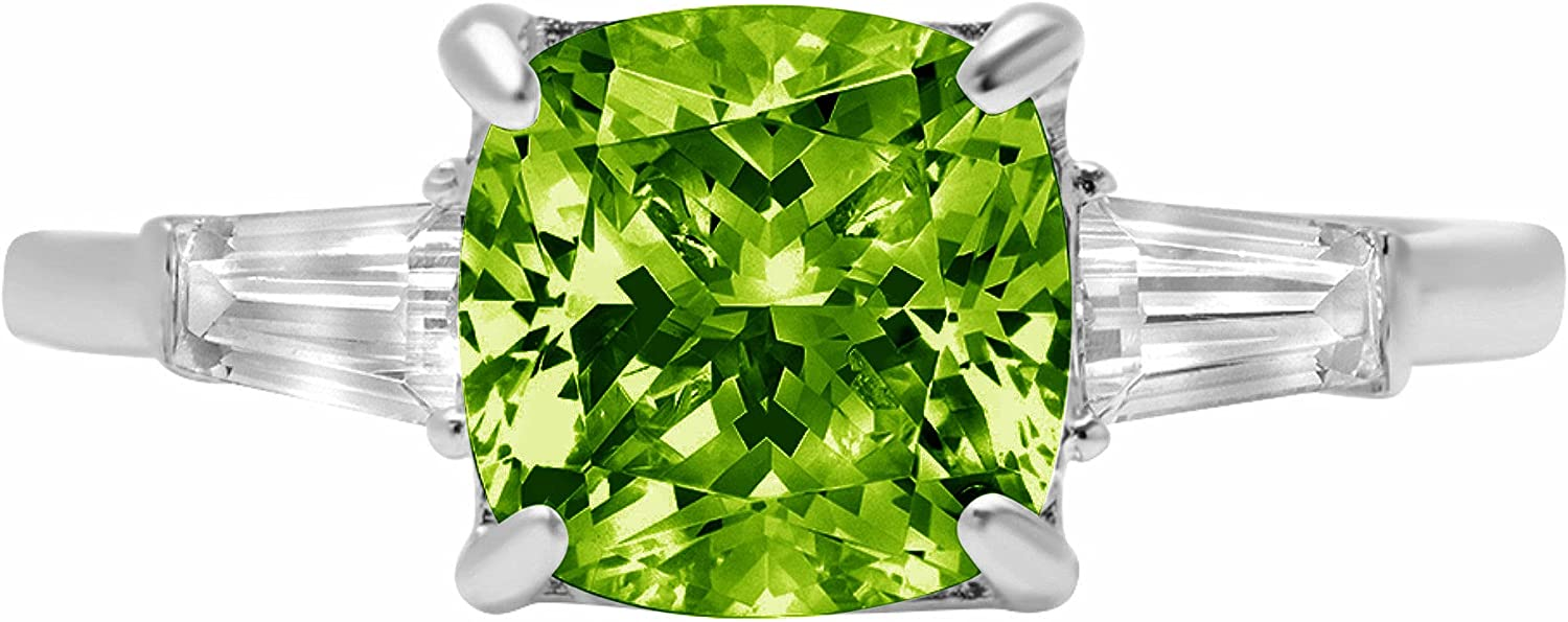 3.44ct Cushion Baguette cut 3 stone Solitaire with Accent Designer Genuine Natural Vivid Green Peridot Gemstone Ideal VVS1 Engagement Promise Statement Anniversary Bridal Wedding ring 14k White Gold